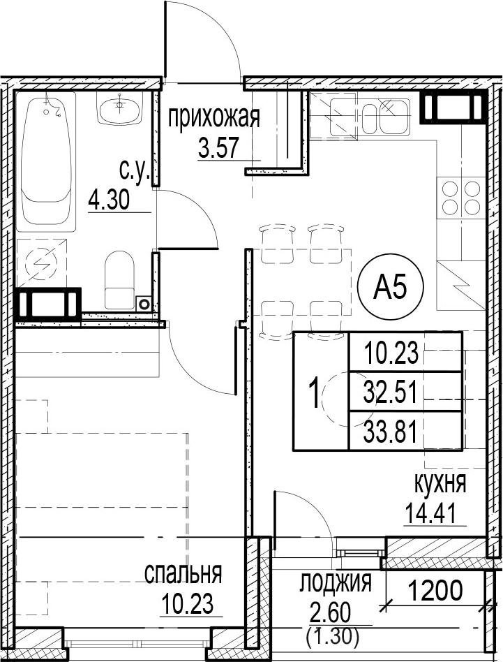 1-комнатная, 33.81 м²– 2
