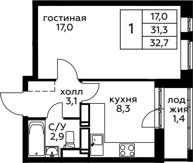 1-к.кв, 32.7 м², 9 этаж