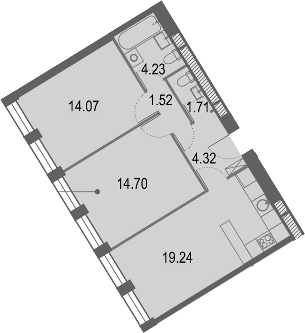 3Е-к.кв, 59.79 м², от 24 этажа