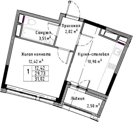 1-к.кв, 31.02 м²