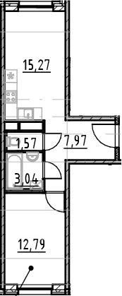 2-к.кв (евро), 40.64 м²
