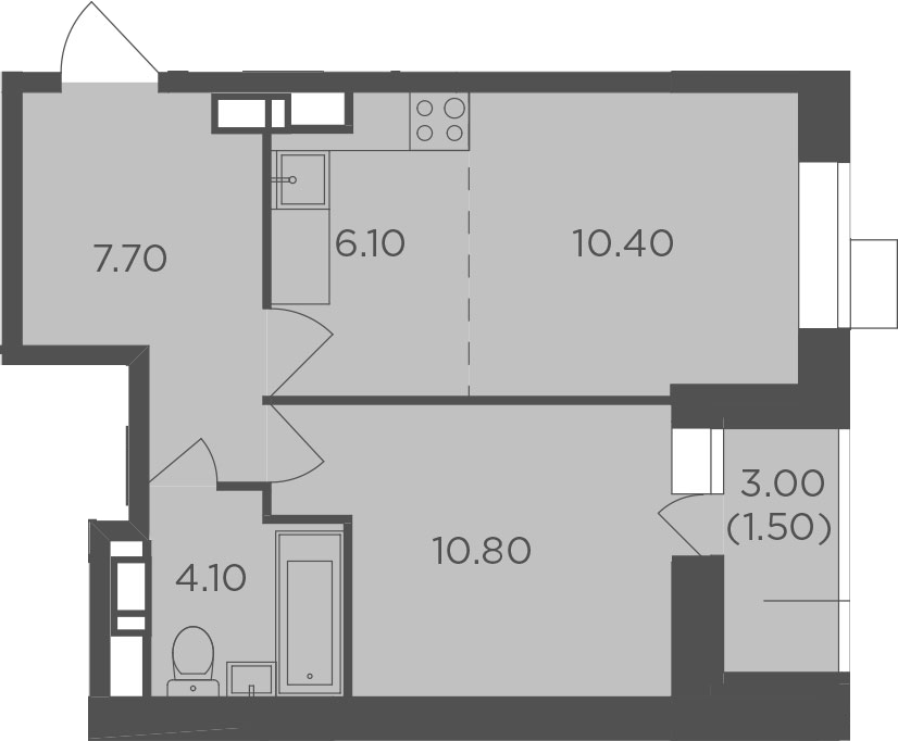 2Е-к.кв, 40.6 м², от 4 этажа