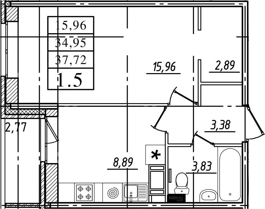 1-комнатная, 34.95 м²– 2