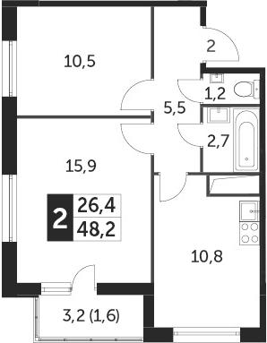 2-к.кв, 48.2 м²