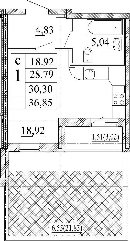 Студия, 36.85 м²