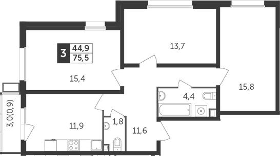 3-комнатная, 75.5 м²– 2