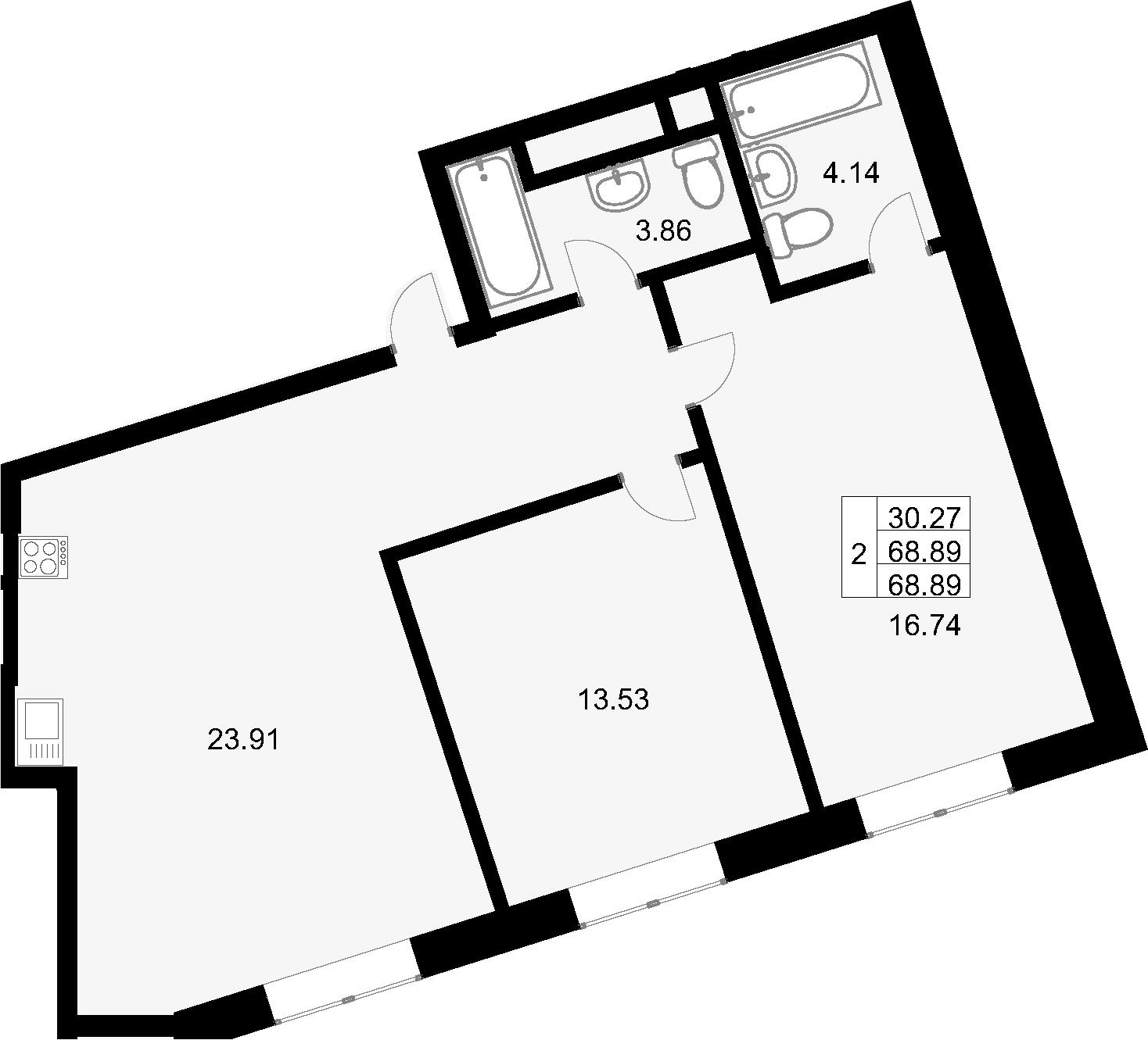 3Е-к.кв, 68.89 м², от 16 этажа
