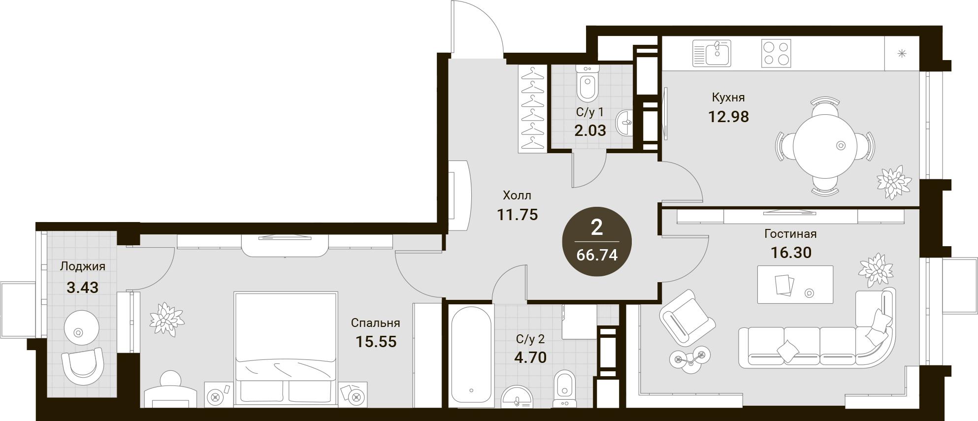 2-комнатная, 66.74 м²– 2
