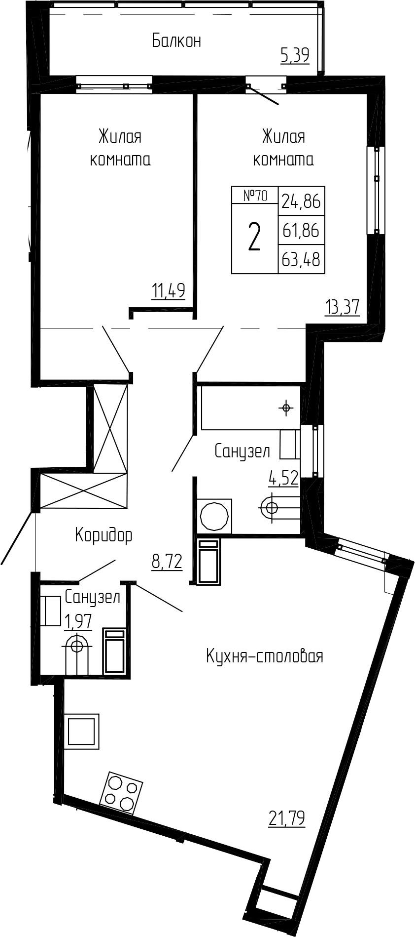 3Е-к.кв, 63.48 м²
