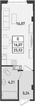 Студия, 23.52 м², от 6 этажа
