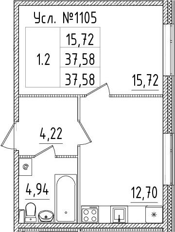 1-к.кв, 37.58 м², 1 этаж