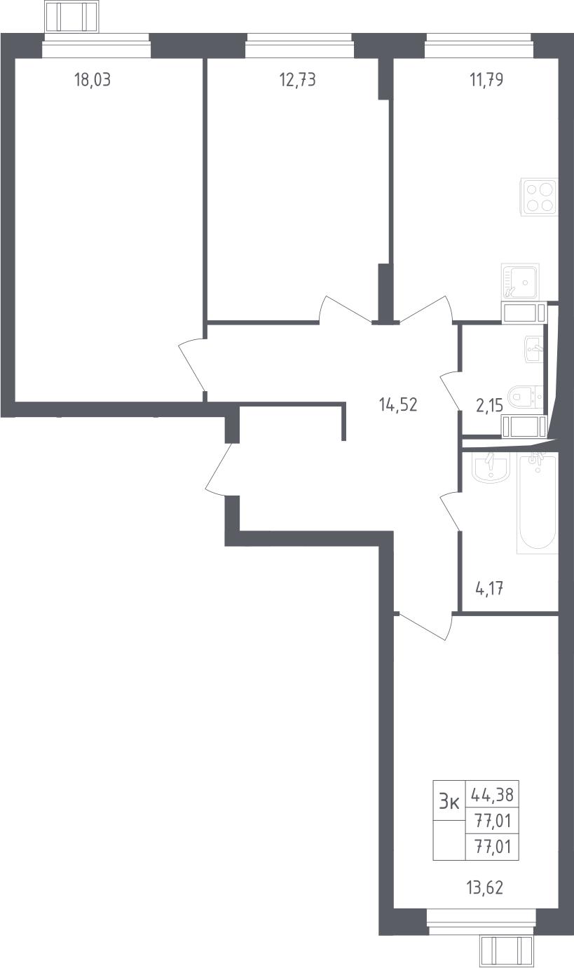 3-к.кв, 77.01 м²