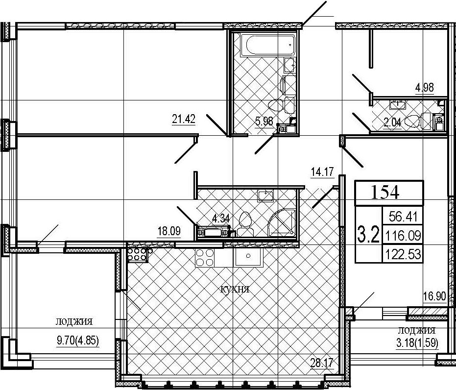 4Е-к.кв, 122.53 м², 7 этаж