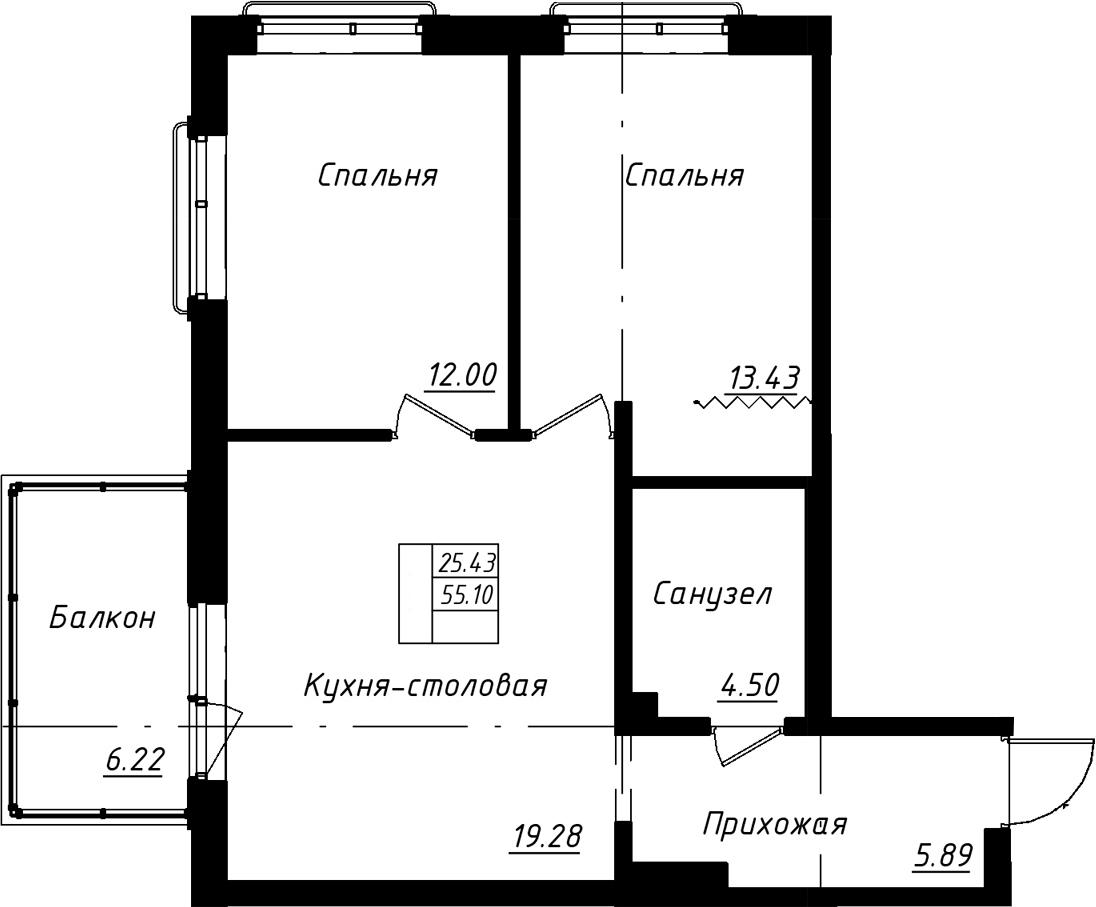 3Е-комнатная, 56.97 м²– 2