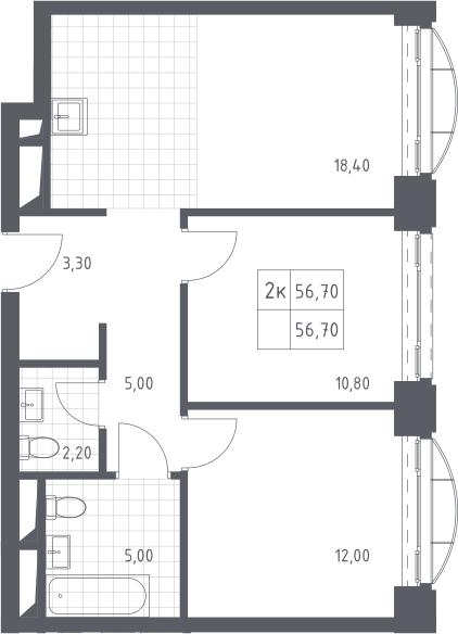 3Е-к.кв, 56.7 м²