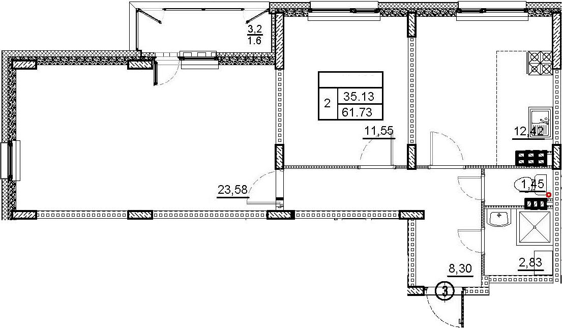 2-комнатная квартира, 61.73 м², 3 этаж – Планировка