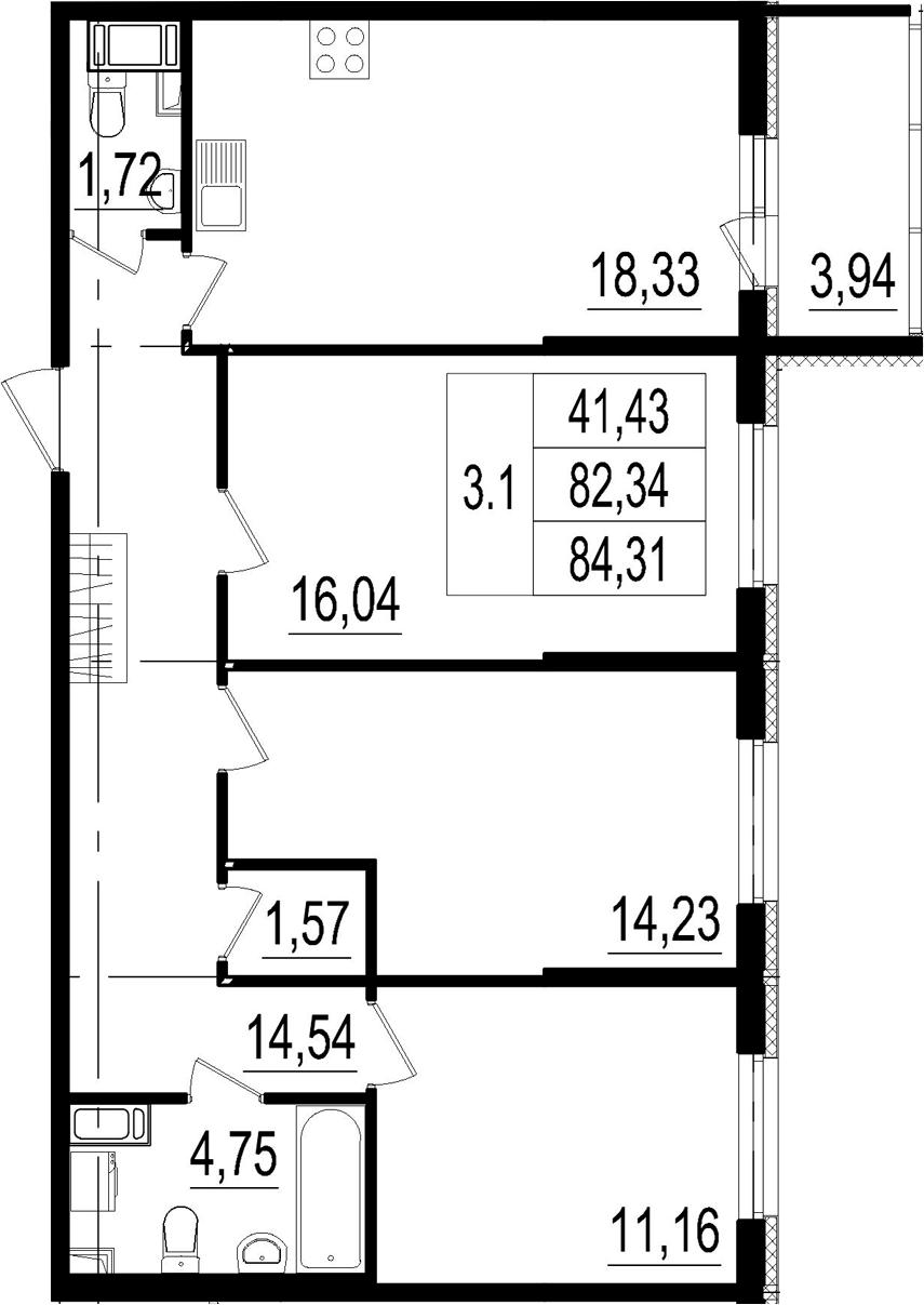 4Е-к.кв, 82.34 м²