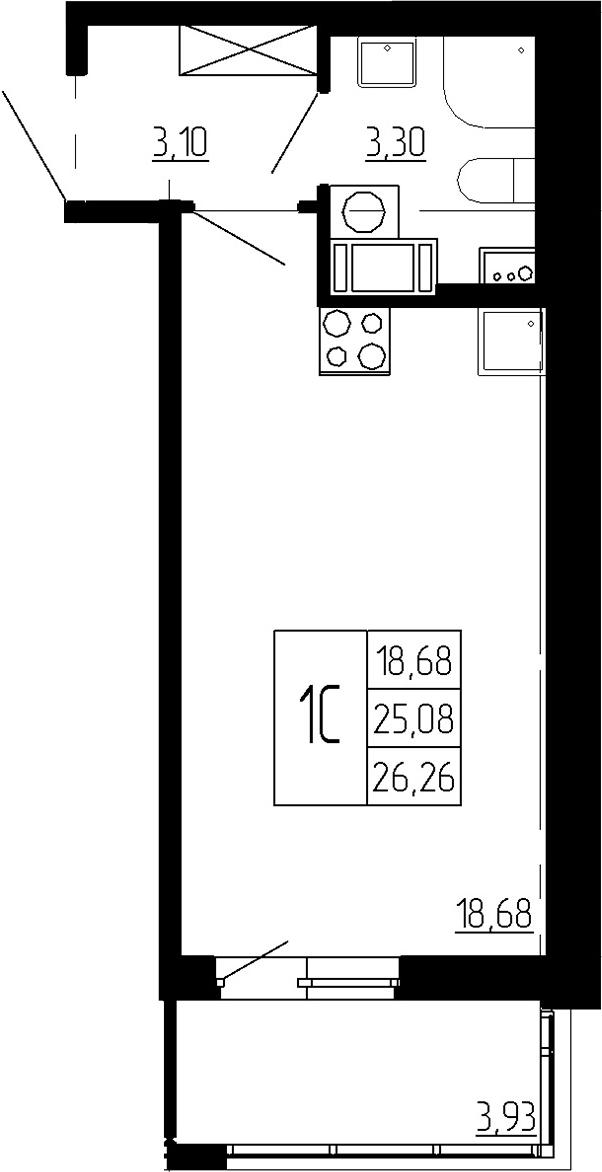 Студия, 25.08 м²– 2