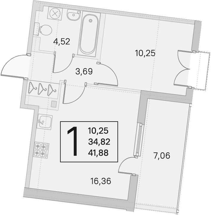 2Е-комнатная, 34.82 м²– 2