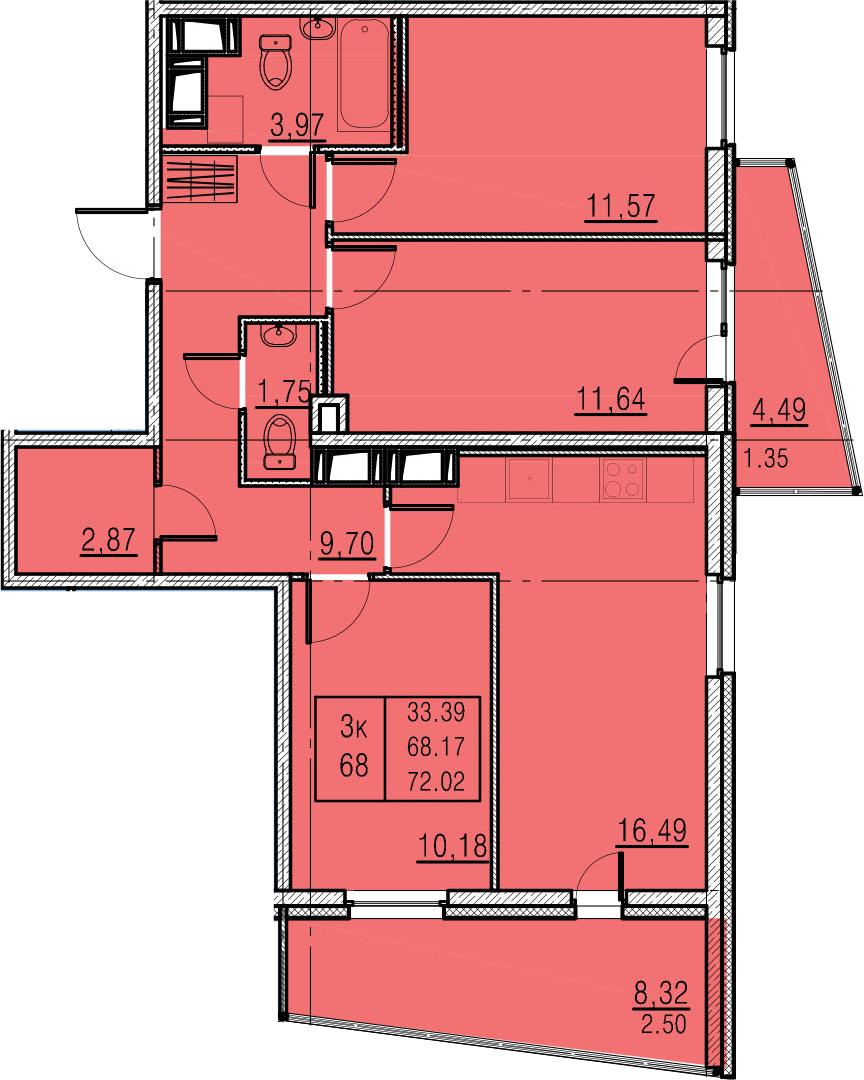 4-к.кв (евро), 80.98 м²