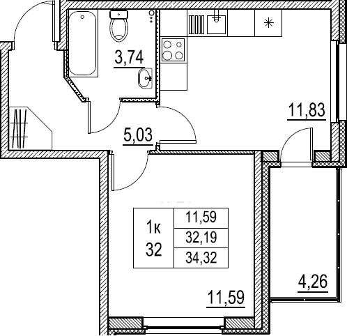 1-к.кв, 34.32 м²