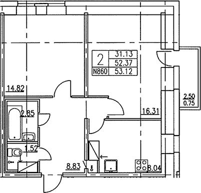 2-к.кв, 54.87 м²