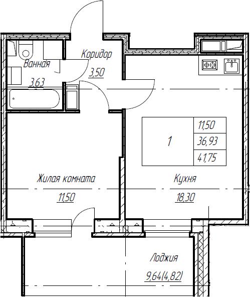 2Е-к.кв, 41.75 м², от 5 этажа