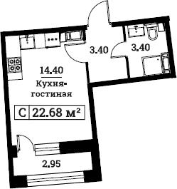 Студия, 22.68 м²