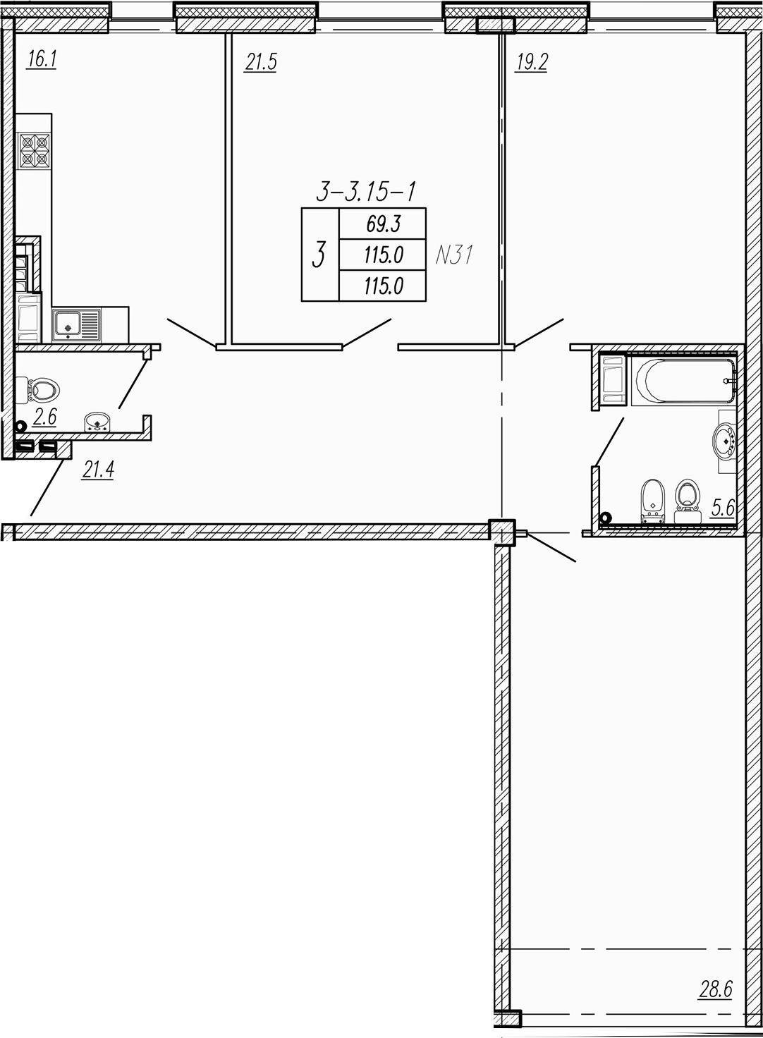 4Е-к.кв, 115 м²