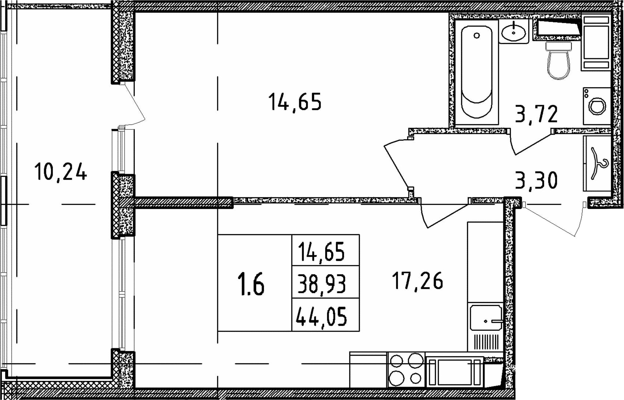 2Е-к.кв, 38.93 м², от 19 этажа