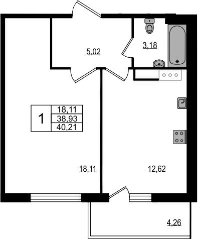 1-к.кв, 40.21 м², 9 этаж