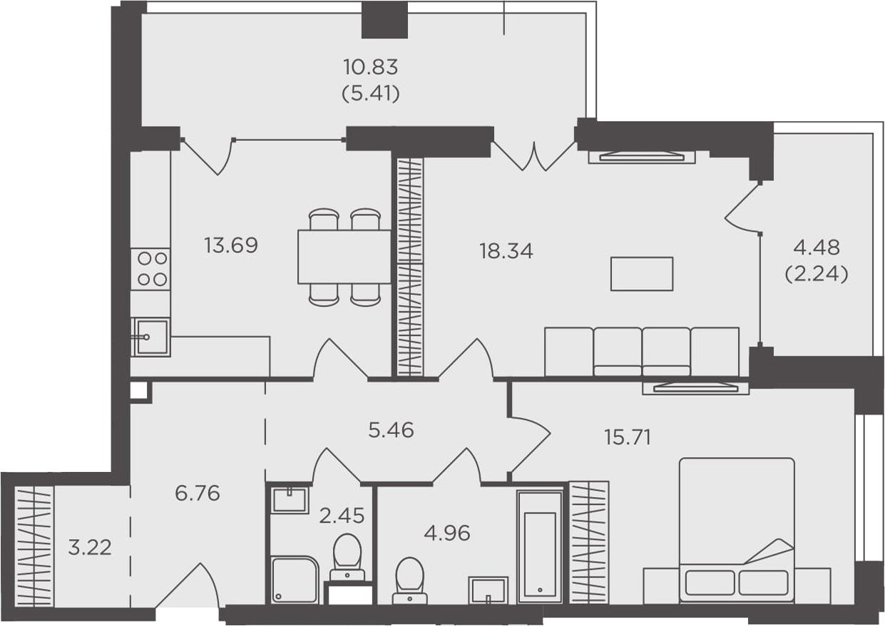 2-комнатная, 78.24 м²– 2