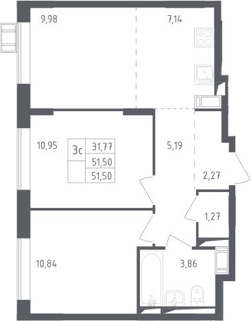 3Е-к.кв, 51.5 м², 16 этаж