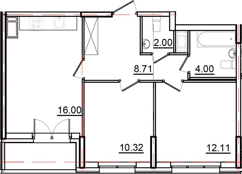 3Е-к.кв, 54.96 м², от 9 этажа