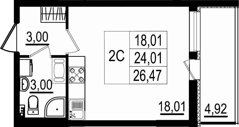 Студия, 24.01 м²