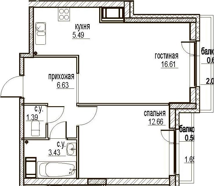 2Е-комнатная, 47.31 м²– 2