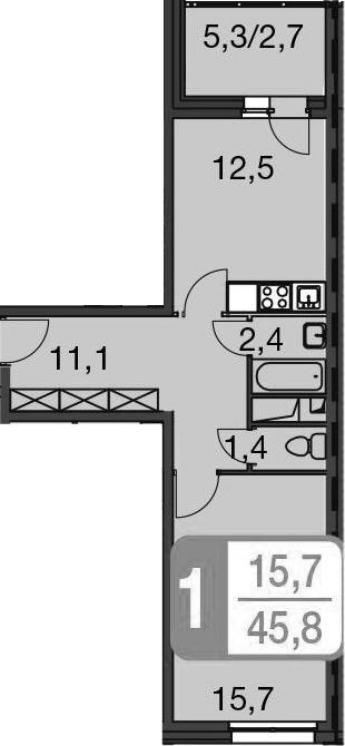 1-к.кв, 48.5 м²