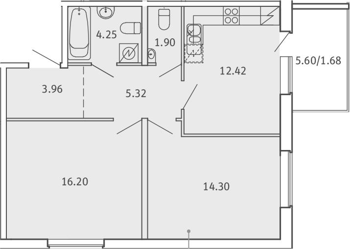 2-комнатная, 60.03 м²– 2