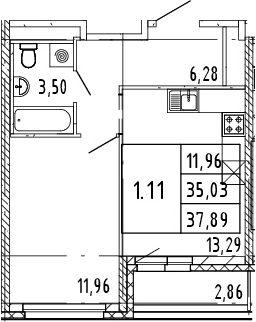 1-к.кв, 37.89 м²
