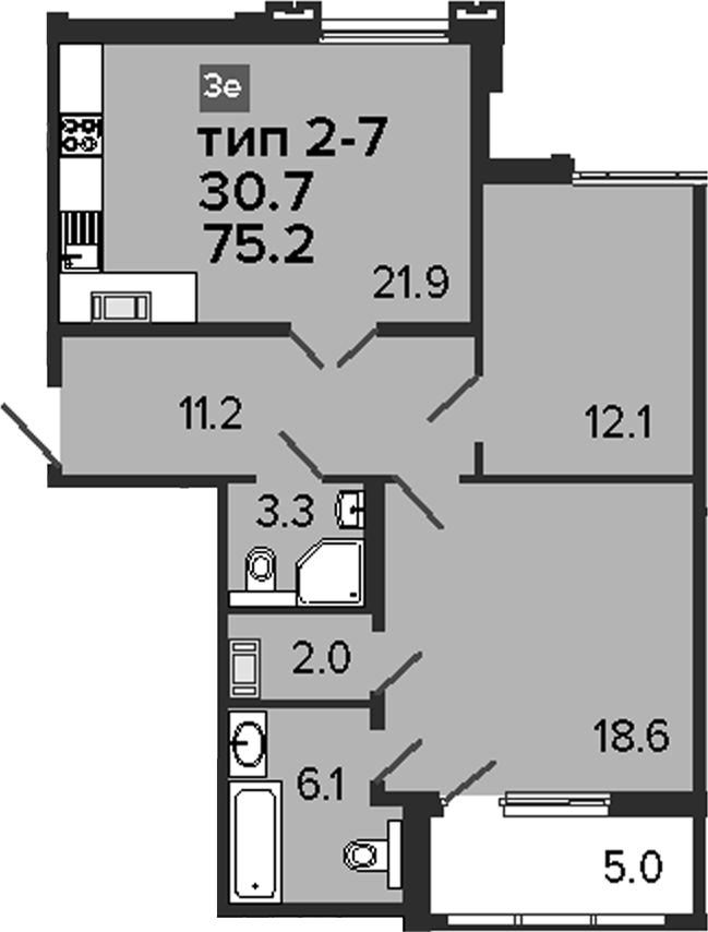 3Е-к.кв, 75.2 м², 8 этаж