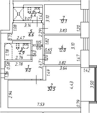 3Е-к.кв, 81.5 м², 7 этаж