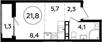 Студия, 21.8 м²– 2