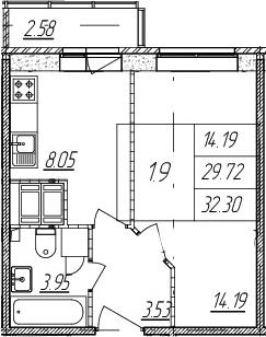 1-к.кв, 29.72 м²