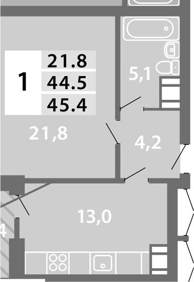 1-к.кв, 45.5 м²