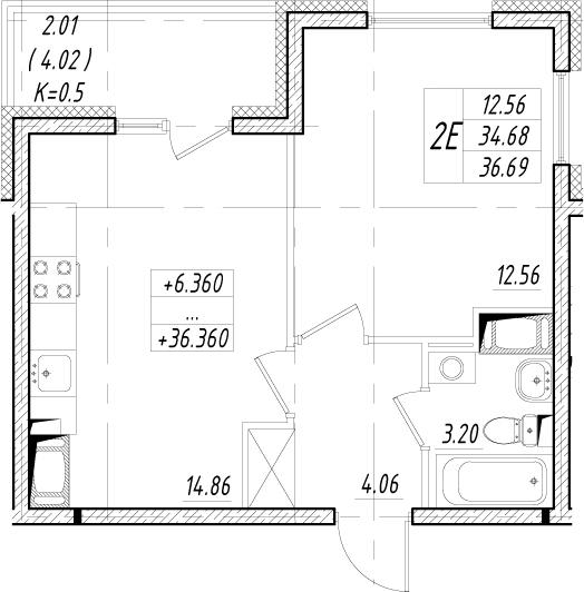 2-к.кв (евро), 38.7 м²