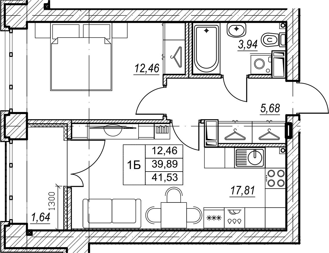 1-комнатная, 41.53 м²– 2