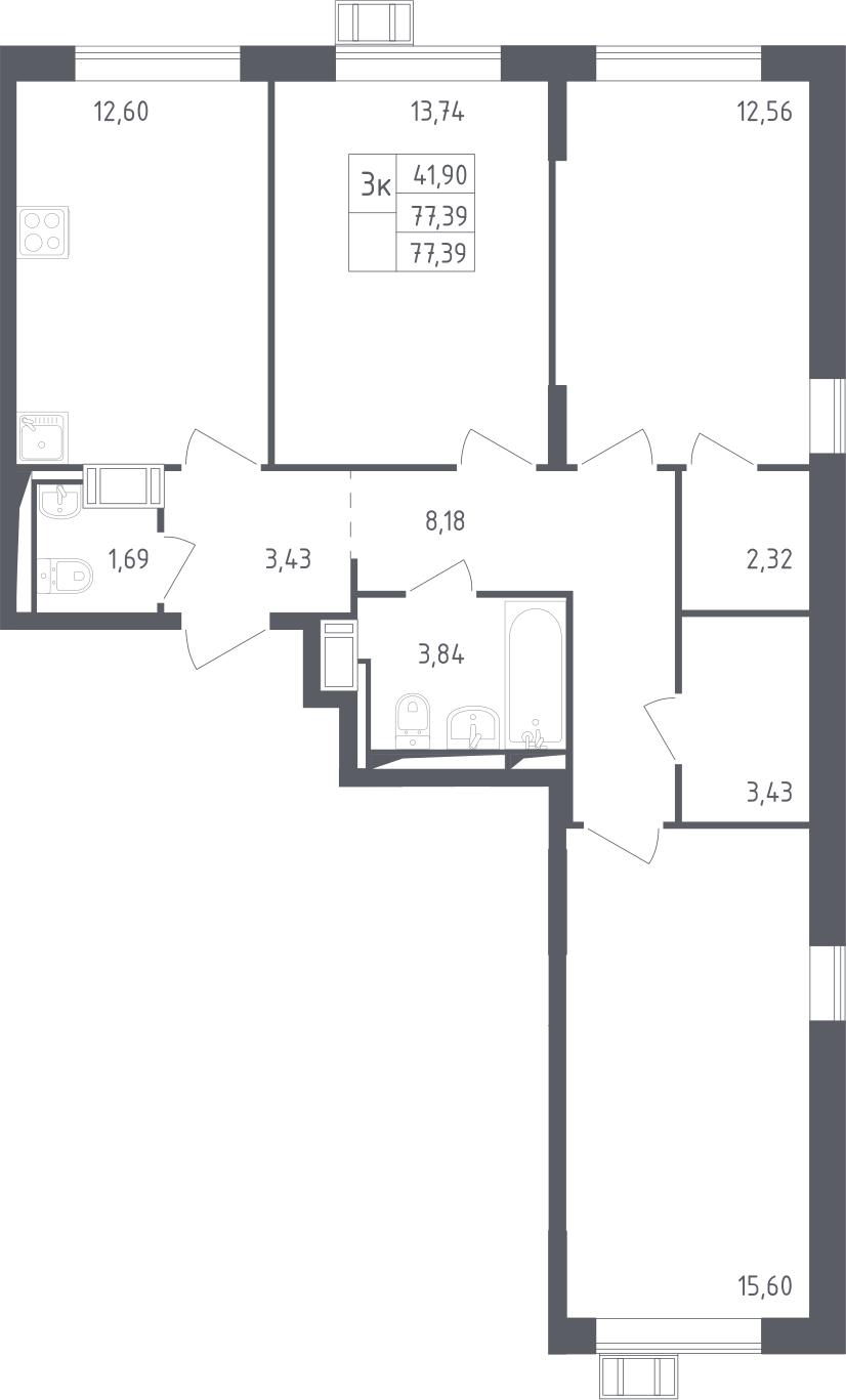 3-к.кв, 77.39 м²