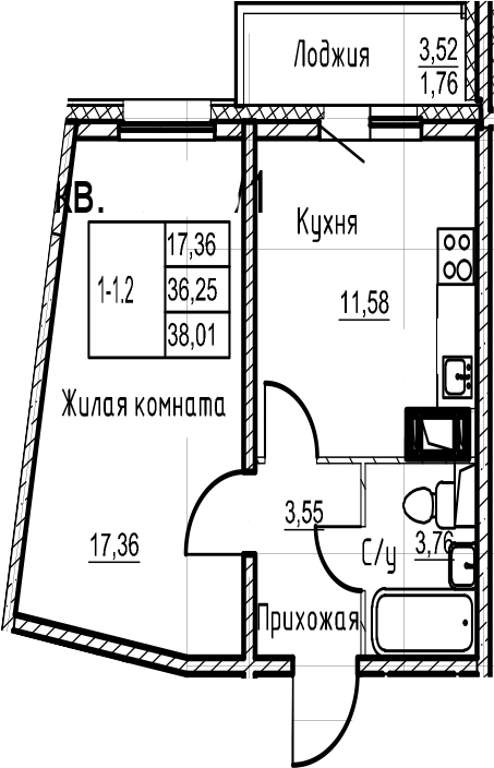 1-к.кв, 38.01 м²