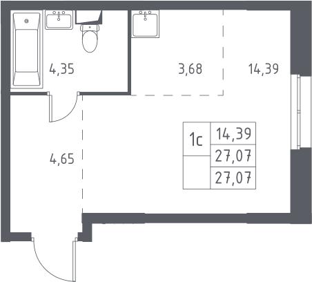 Студия, 27.07 м²