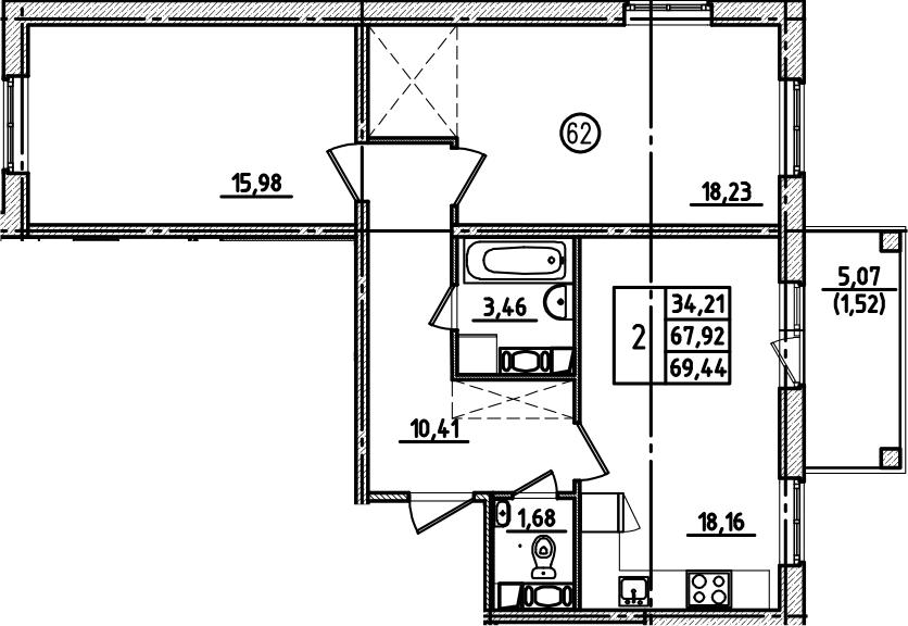 3Е-к.кв, 69.44 м², от 7 этажа